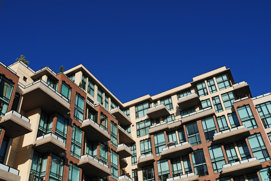 Detail of modern apartment building in New Westminster, Canada